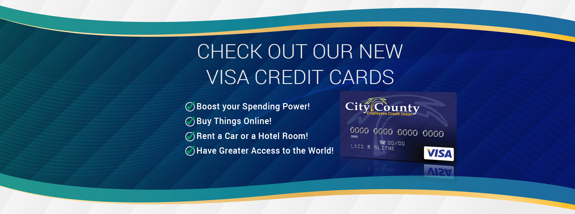 Check out our new visa credit cards